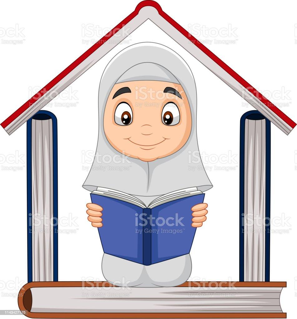 Fille Musulmane De Dessin Anime Affichant Un Livre Avec La