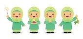 Cartoon muslim girl_green
