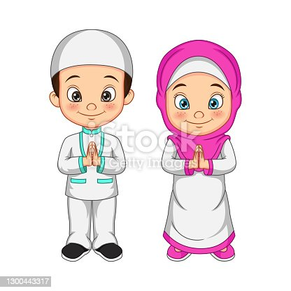 istock Cartoon Muslim kid greeting salaam 1300443317