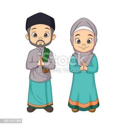 istock Cartoon Muslim man and woman greeting salaam 1301347263