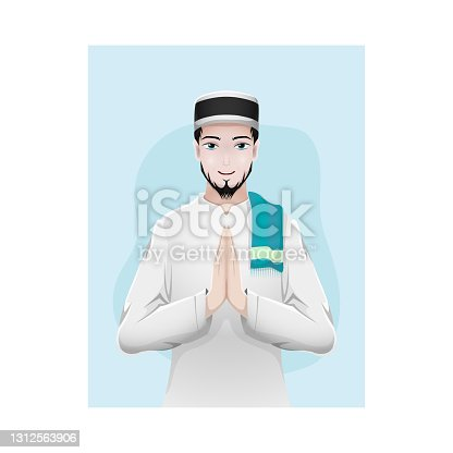 istock Cartoon muslim man greeting salaam 1312563906