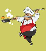 cartoon mustachioed chef joy jumping with frying pan