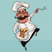 cartoon mustachioed man in cook clothes with a dish in his hand