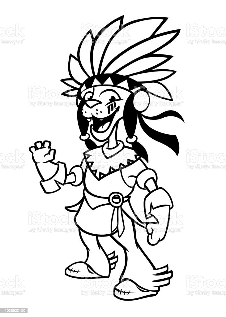 - Cartoon Native American Indian Character Illustration Clipart For Coloring  Book Stock Illustration - Download Image Now - IStock