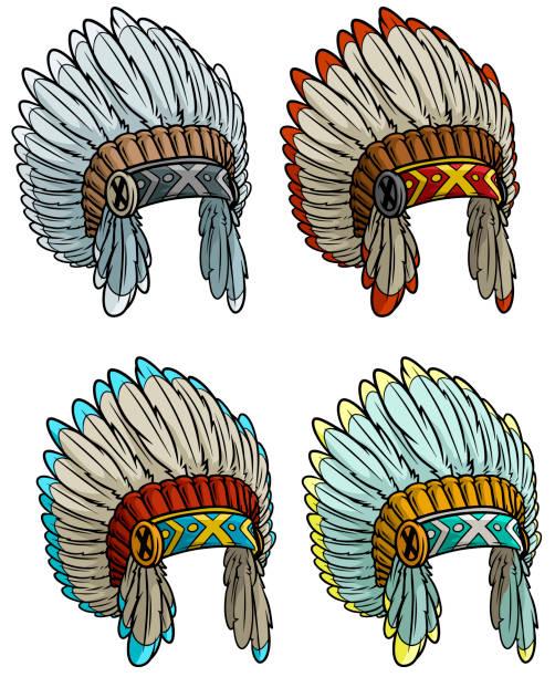 cartoon-native american indian chief kopfschmuck set - kopfschmuck stock-grafiken, -clipart, -cartoons und -symbole