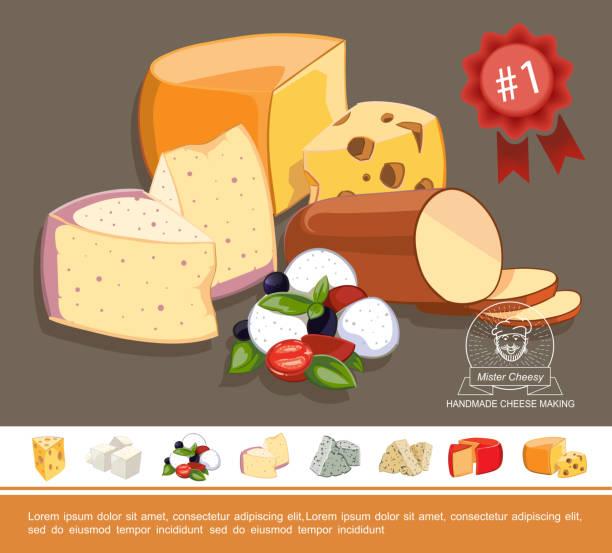 cartoon naturkäse buntes konzept - raclette stock-grafiken, -clipart, -cartoons und -symbole