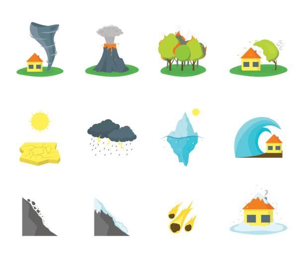 Cartoon Natural Disaster Color Icons Set. Vector Cartoon Natural Disaster Color Icons Set Flat Style Design Element Danger Insurance Concept. Vector illustration avalanche stock illustrations