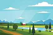 Blue sky and green meadows, little house between it. Vector illustration.