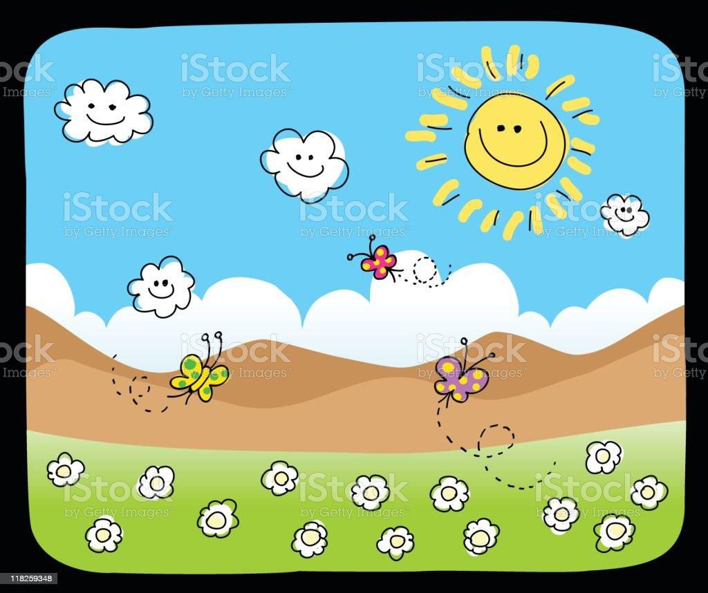cartoon nature background royalty-free stock vector art