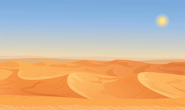 Cartoon nature empty sand desert landscape vector illustration. vector art illustration