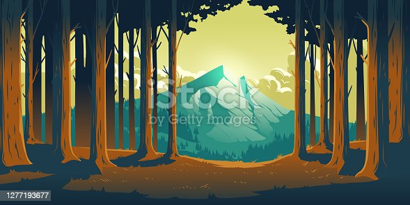 istock Cartoon nature landscape with mountain and forest 1277193677