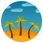 Cartoon nature landscape with three palms in the desert in circle