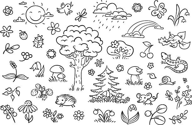 Cartoon Nature Set Black And White Outline Vector Art Illustration