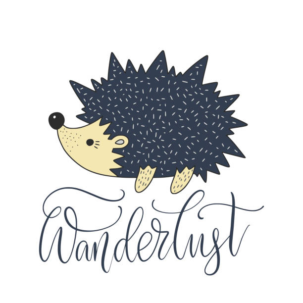 Cartoon nature vector card with a nice hedgehog and hand drawn lettering. Wanderlust. Cartoon nature vector card with a nice hedgehog and hand drawn lettering. garden center stock illustrations