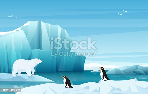 Cartoon nature winter arctic landscape with ice mountains. White Bear and penguins. Vector game style illustration