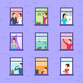 Cartoon Neighbors Character Set Concept Flat Design Style Include of Woman, Man and Cat. Vector illustration of Neighbor Types