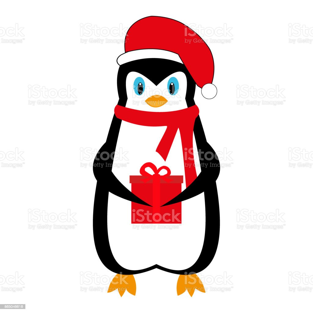 cartoon new year holiday penguin with a gift royalty free cartoon new year holiday penguin