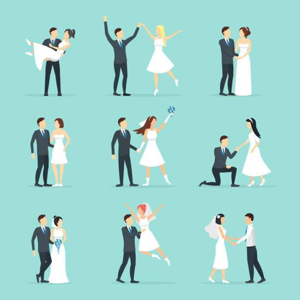 cartoon newlyweds people posing set. vector - wedding photographer stock illustrations