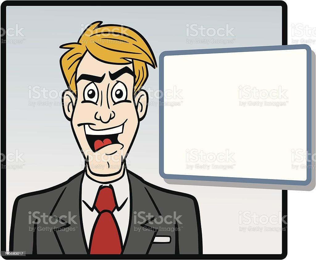 Cartoon Newscaster vector art illustration