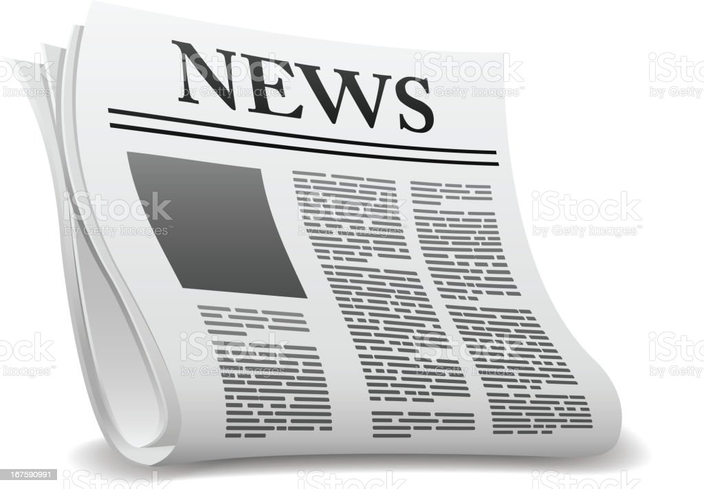 A cartoon newspaper on a white background royalty-free stock vector art