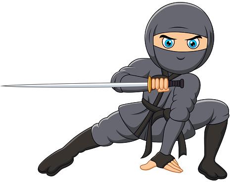 Cartoon ninja holding a sword
