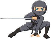 Cartoon ninja holding a sword
