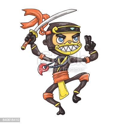 cartoon ninja with sword