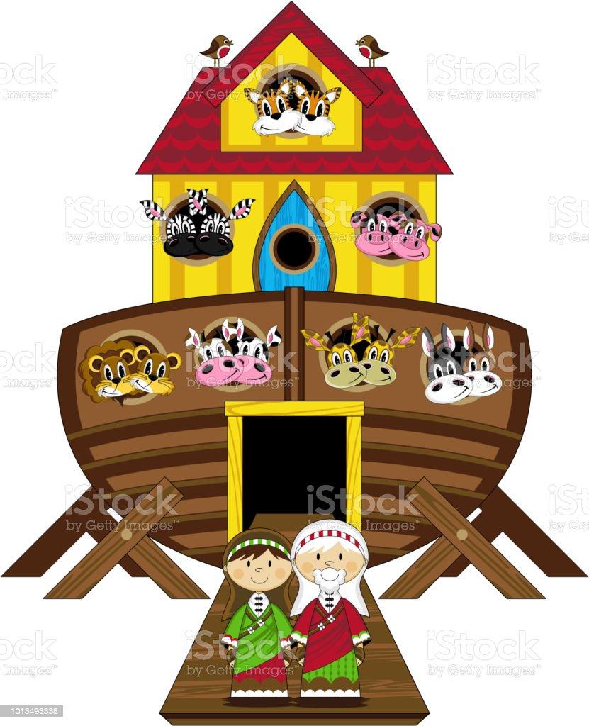 Vetores De Desenhos Animados Noe E A Arca Biblia Ilustracao E Mais