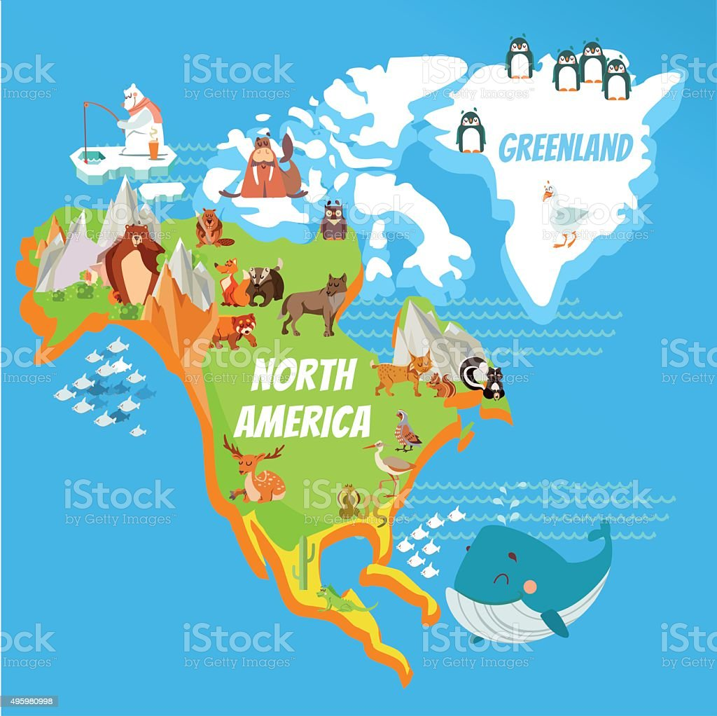cartoon north america continent map stock vector art more images
