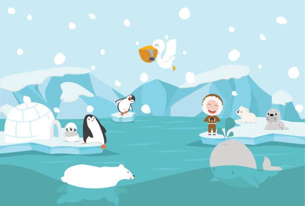 cartoon north pole arctic landscape - antarctica travel stock illustrations, clip art, cartoons, & icons