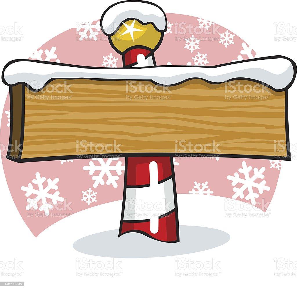 Cartoon North Pole Signpost vector art illustration