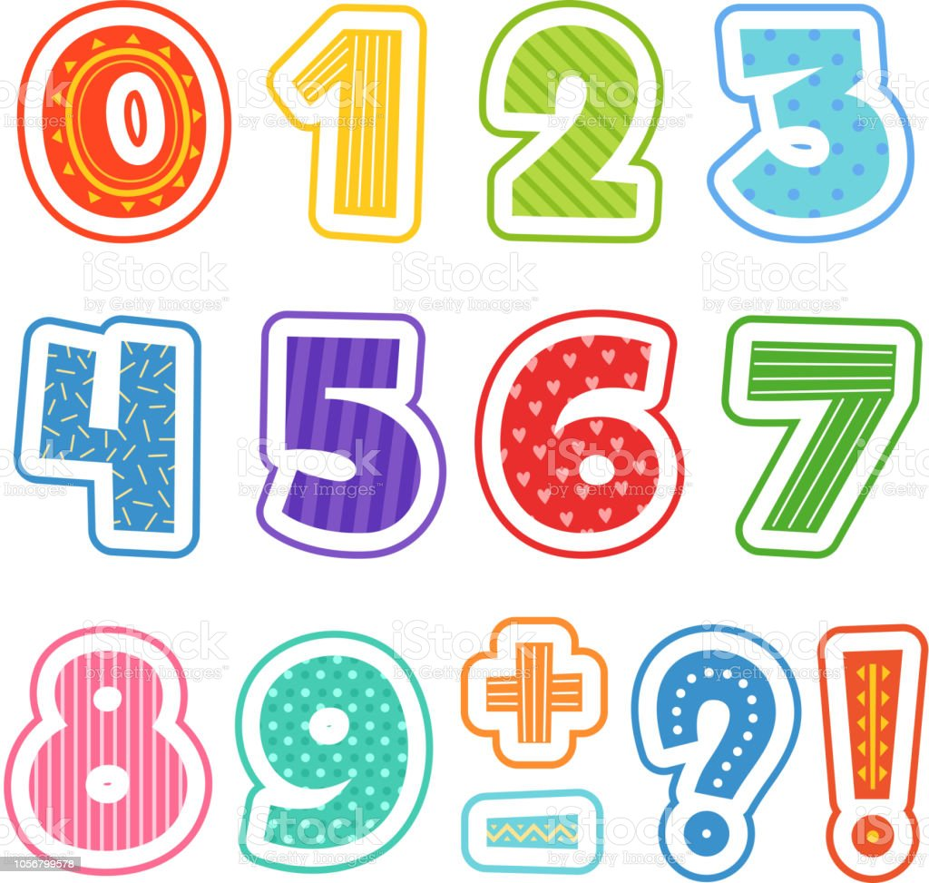 Cartoon Numbers Colored Fun Alphabet For School Kids
