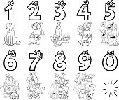 Black and White Cartoon Illustration of Educational Numbers Collection from One to Nine with Comic Dogs Animal Characters Coloring Book Page