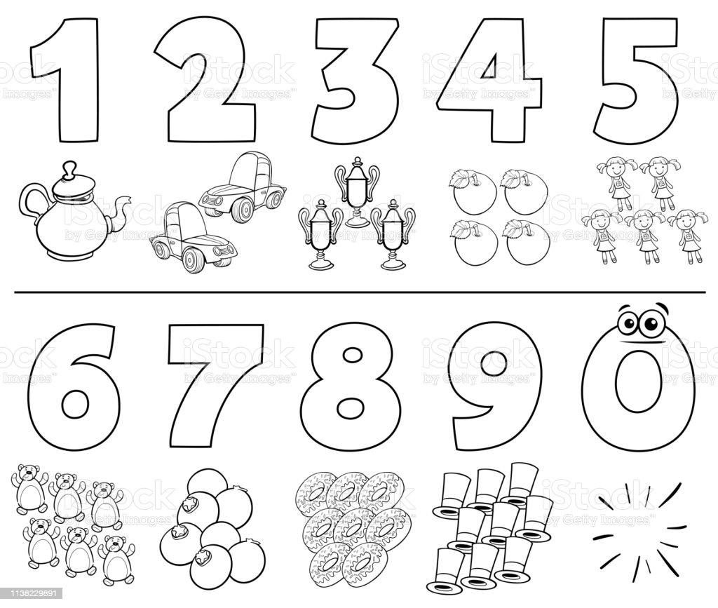 Ilustración De Números De Dibujos Animados Establecer Libro
