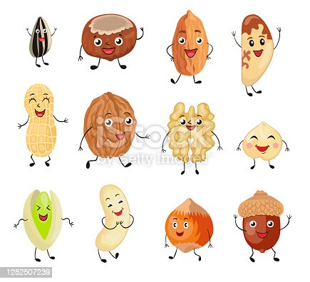 Cartoon nuts set. Cute characters, funny friendly walnut, pistachio, almond, hazelnut, macadamia, sunflower seed. Flat vector illustrations can be used for food, protein, vegetarian diet concept