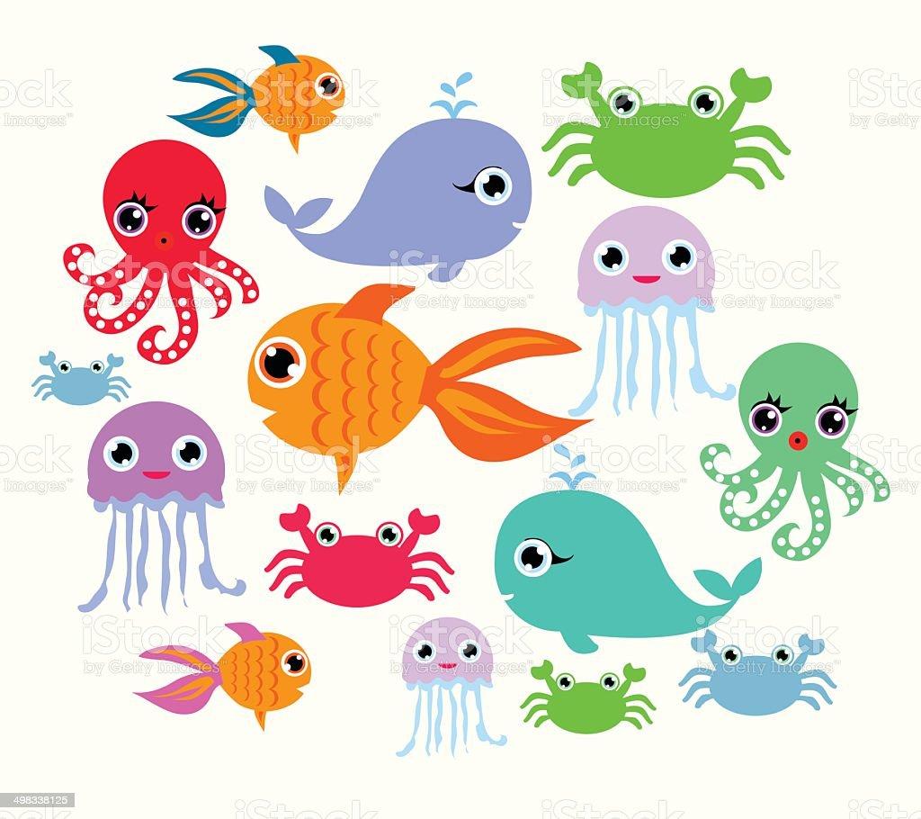 cartoon ocean animals向量藝術插圖