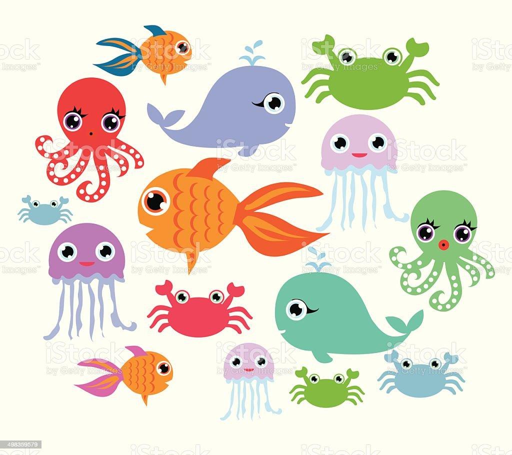 cartoon ocean animals - 免版稅動物圖庫向量圖形