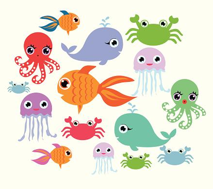 Cartoon Ocean Animals向量圖形及更多動物圖片