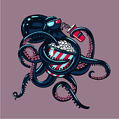 Monster cinema. Cartoon octopus is watching movies on 3d glasses and eating popcorn. Humorous illustration. Vector art.