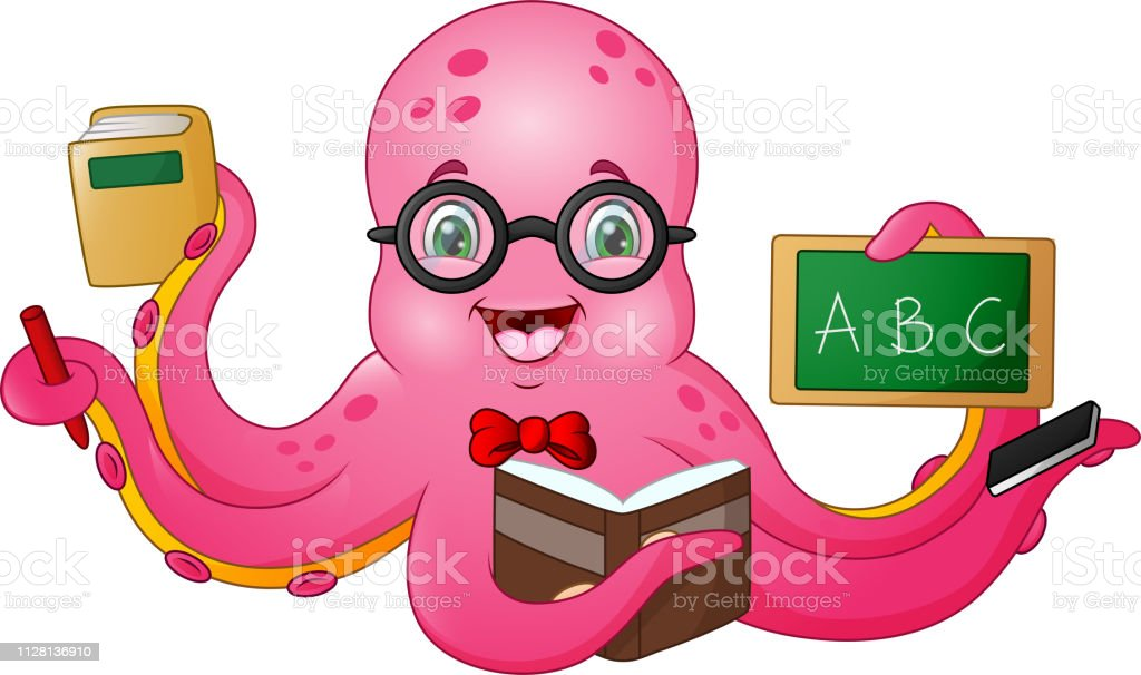 illustration of Cartoon octopus teacher holding stationery