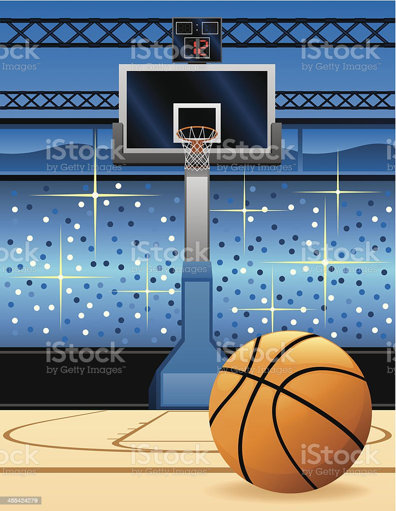 Cartoon of a basketball in front of the hoop vector art illustration