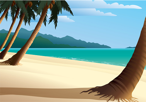 A cartoon of a beautiful beach front and seascape