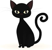 A vector illustration of a sitting black cat. Cat is grouped together on one layer. Linear and radial gradients used. No meshes.