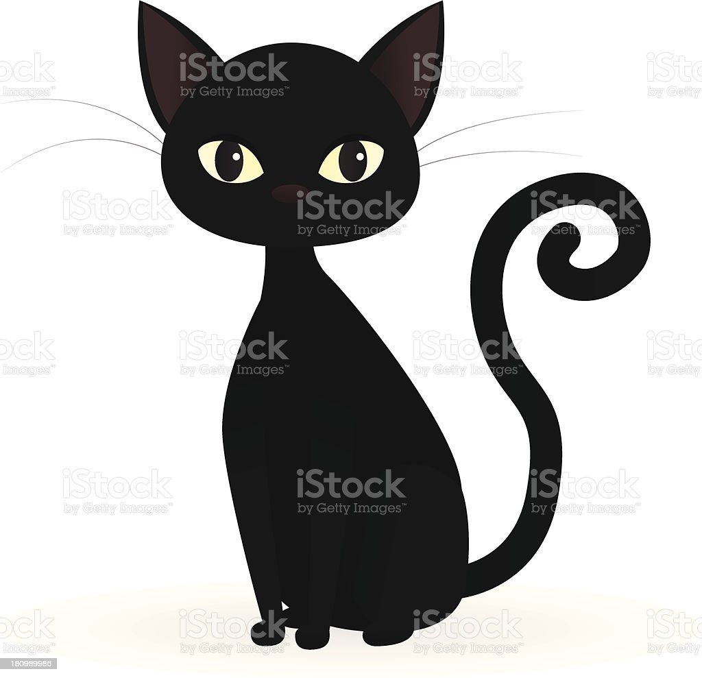 A cartoon of a black cat on a white background vector art illustration