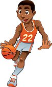 Basket boy. Cartoon and vector sport character