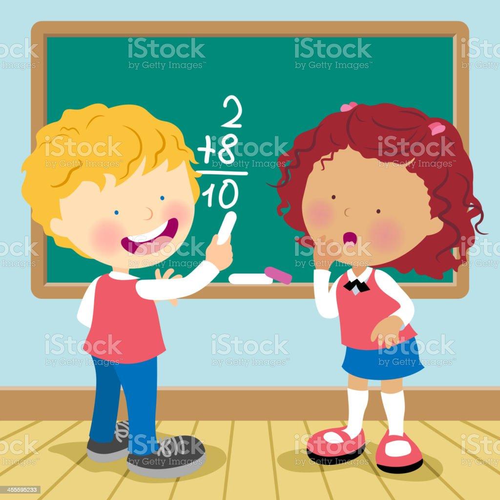 Cartoon of a boy and a girl doing math on a blackboard vector art illustration