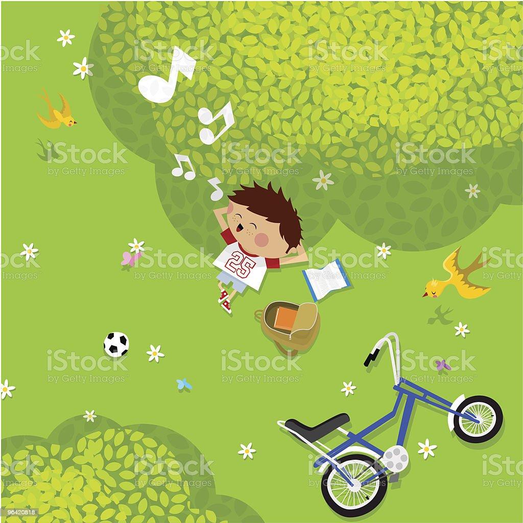 Cartoon of a boy enjoying summer pastimes vector art illustration