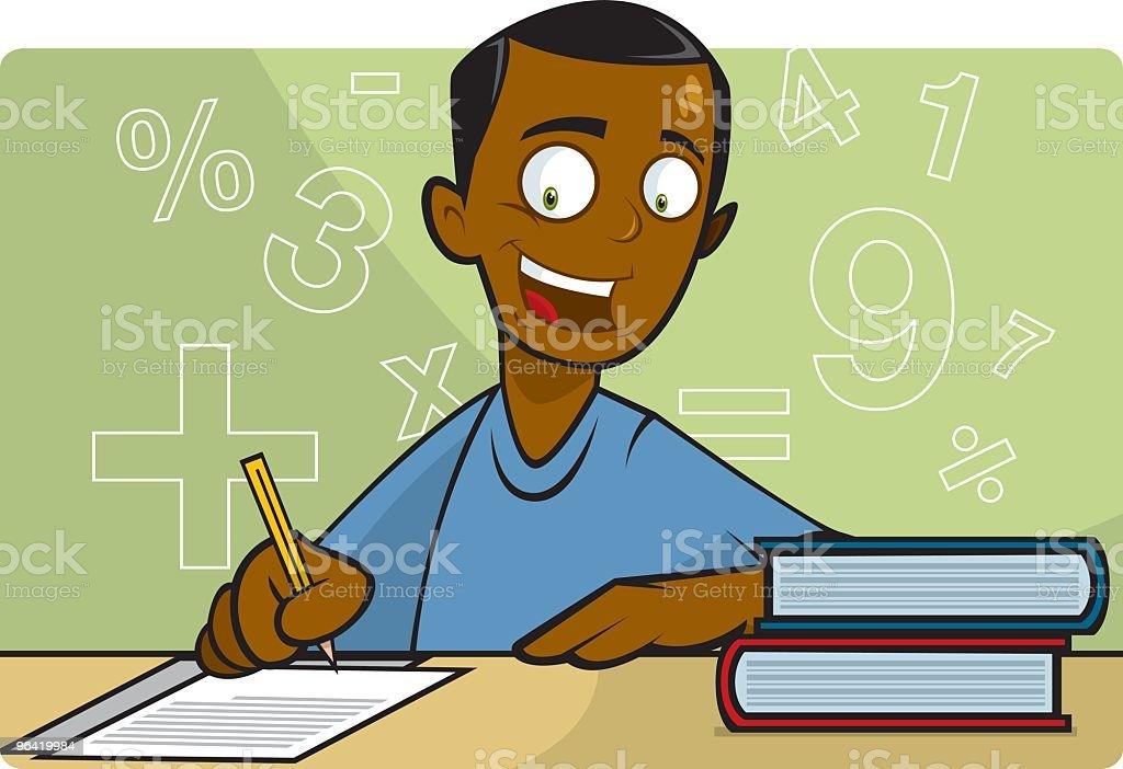 Cartoon of a boy learning math vector art illustration