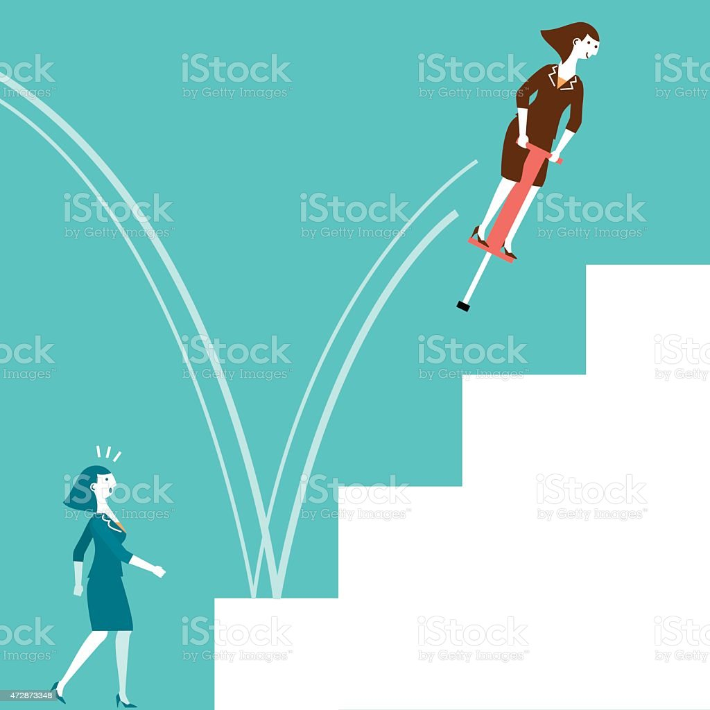 Cartoon of a businesswoman on a pogo stick jumping up stairs vector art illustration