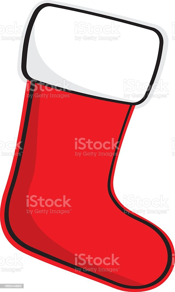 A cartoon of a Christmas stocking royalty-free stock vector art